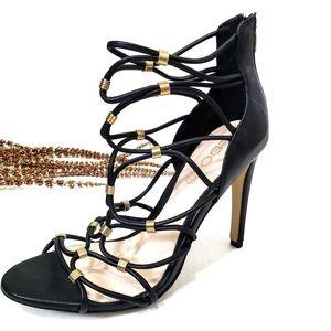 Aldo Black Gold Leather Strappy Cage Heels